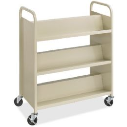 Safco Steel Shelf DoublE-Sided Book Carts, 6-Shelf Cart - Office Supplies