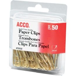Acco Gold Tone Paper Clips - Paper clips