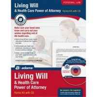 Adams Living Will/power Of Attorney Forms - Office Supplies