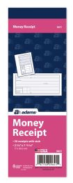 "60 Units of Adams Money Receipt Book, 1-Part With TeaR-Off Stub, 2-3/4"" X 7-15/16"", 50/bk - Receipt book"