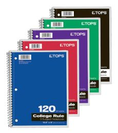 "12 Units of Notebook, 3-Subject, Wirebound, 10-1/2"" X 8"", College Rule, Assorted: Blue, Red, Purple Covers, 120 Sheets Per Book - Notebooks"