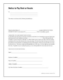 Notice To Pay Rent Or Quit, Forms And Instructions - Office Supplies