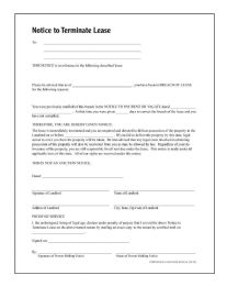 Notice To Terminate Tenancy, Forms And Instructions - Office Supplies