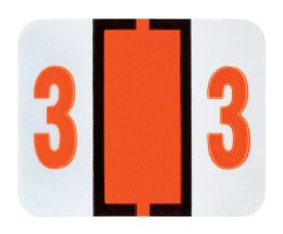 """25 Units of End Tab Numeric Labels - 1-1/4"""" X 3/4"""" Number """"3"""" - Labels"""