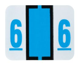 "25 Units of End Tab Numeric Labels - 1-1/4"" X 3/4"" Number ""6"" - Labels"