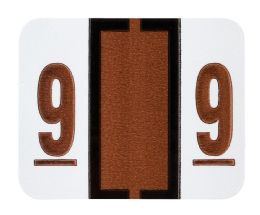 """25 Units of End Tab Numeric Labels - 1-1/4"""" X 3/4"""" Number """"9"""" - Labels"""