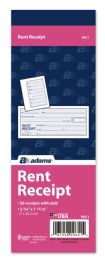 "60 Units of Adams Rent Receipt, 1-Part With TeaR-Off Stub, 2-3/4"" X 7-15/16"", 50 Per Book - Office Supplies"
