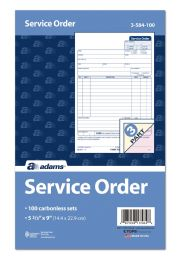 2 Units of Adams Service Order, 3-Part, Carbonless, 250 St/pk - Office Supplies
