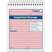 Adams SpiraL-Bound Phone Message Booklet - Office Supplies