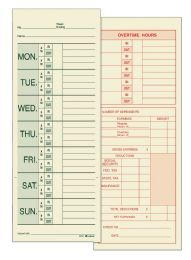 8 Units of Adams Time Card, Weekly, 2-Sided, Named Days, 200 Cd/pk - Office Supplies