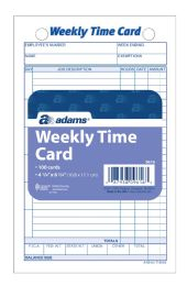 30 Units of Adams Time Card, Weekly, White Index Bristol, 100 Cd/pk - Office Supplies