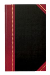 """4 Units of Adams Record Book, Black Cover, Maroon Spine, 11-5/8"""" X 7-1/4"""", 300 Pages, - Record book"""