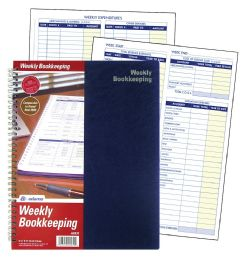 "12 Units of Adams Weekly Bookkeeping Record Book, Spiral Bound, 8-1/2"" x 11"" - Record book"