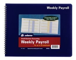 "12 Units of Adams Weekly Payroll Record, 20 Employee Capacity, Spiral, 8-1/2"" X 11"" - Office Supplies"
