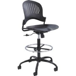 Safco Zippi Plastic ExtendeD-Height Chair - Black - Office Chairs