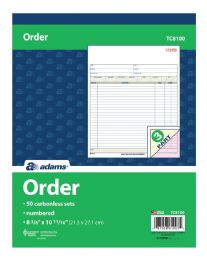 "5 Units of Order Book, 3-Part, Carbonless, 8-3/8"" X 10-11/16"", 50 St/bk - Order book"