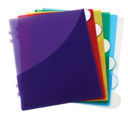 Scallop Edge 6 Tab Divider With Pocket, Assorted - Dividers & Index Cards