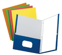 100 Units of School Grade Two Pocket Portfolio, Fasteners, Assorted Colors, 100 Per Pdq - Fasteners