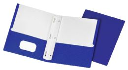 5 Units of School Grade Two Pocket Portfolio, Fasteners, Blue, 25 Pack - Fasteners