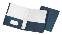 5 Units of School Grade Two Pocket Portfolio, Fasteners, Dark Blue, 25 Pack - Fasteners