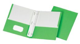 5 Units of School Grade Two Pocket Portfolio, Fasteners, Green, 25 Pack - Fasteners