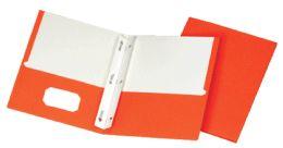 5 Units of School Grade Two Pocket Portfolio, Fasteners, Orange, 25 Pack - Fasteners