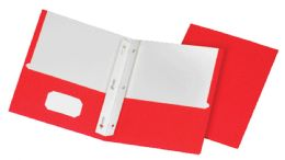 5 Units of School Grade Two Pocket Portfolio, Fasteners, Red, 25 Pack - Fasteners