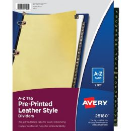 Avery A-Z Black Leather Tab Divider - Dividers & Index Cards