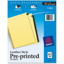 Avery A-Z Gold Line Black Leather Tab Divider - Dividers & Index Cards