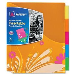 144 Units of Avery Big Tab Pocket Insertable Plastic Dividers - Dividers & Index Cards
