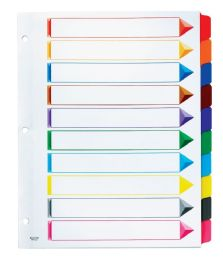 12 Units of Oxford Omni-Dex Colour- Coded Tab Dividers - 10 Tabs, Letter-Size, Assorted, 10/ST - Dividers & Index Cards