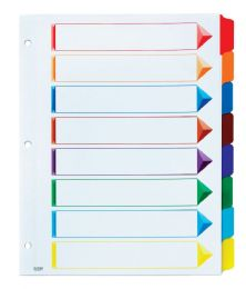 12 Units of Oxford OmnI-Dex ColouR- Coded Tab Dividers - 8 Tabs, LetteR-Size, Assorted, 12/st - Dividers & Index Cards