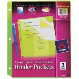 Avery Corner Lock Three Pocket Binder Pockets - Binders