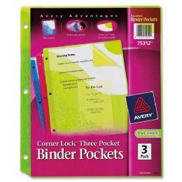 120 Units of Avery Corner Lock Three Pocket Binder Pockets 75312, Assorted, Pack Of 3 - Binders