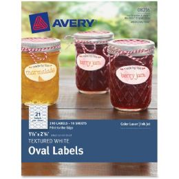 "Avery Textured White Oval Labels 08216, 1-1/8"" X 2-1/4"", Pack Of 210 - Labels"