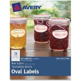 "Avery Textured White Oval Labels 80502, 1-1/8"" X 2-1/4"", Pack Of 63 - Labels"