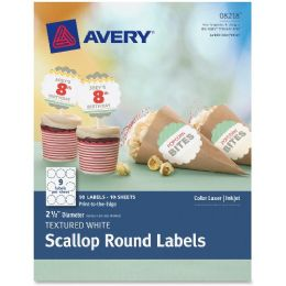 "Avery Textured White Scallop Round Labels 08218, 2-1/2"" Diameter, Pack Of 90 - Labels"