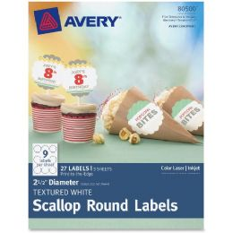 "Avery Textured White Scallop Round Labels 80500, 2-1/2"" Diameter, Pack Of 27 - Labels"