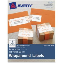 "Avery Textured White Wraparound Labels 80506, 7-17/20"" X 1-3/4"", Pack Of 15 - Labels"