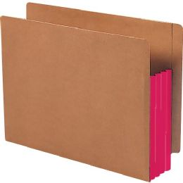 Smead 73686 Red Extra Wide End Tab File Pockets With Reinforced Tab And Colored Gusset - File Folders & Wallets