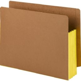 Smead 73688 Yellow Extra Wide End Tab File Pockets With Reinforced Tab And Colored Gusset - File Folders & Wallets