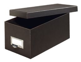 "6 Units of Fiberboard Index Card Storage Boxes, 3"" X 5"" Card Size, Solid Black - Boxes & Packing Supplies"