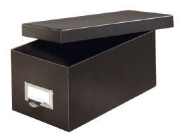 "6 Units of Fiberboard Index Card Storage Boxes, 4"" X 6"" Card Size, Solid Black - Boxes & Packing Supplies"