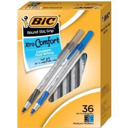36 Units of BIC Comfort Grip Medium Point Round Stic Pens - Pens & Pencils
