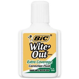 12 Units of BIC Wite-Out Extra Coverage Correction Fluid - Office Supplies