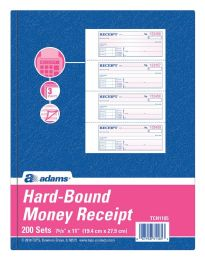 5 Units of Hardbound Receipt Book, 3-Part, Carbonless, 4/PG, 200 ST/BK - Receipt book
