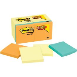Post-it Notes Value Pack in Canary Yellow with 4 Free Pads in Bright Colors - Adhesive note