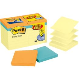 Post-it Pop-up Notes Value Pack in Canary Yellow plus 4 FREE Neon Pads - Adhesive note