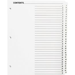 Sparco Table Of Contents Index Divider - Dividers & Index Cards