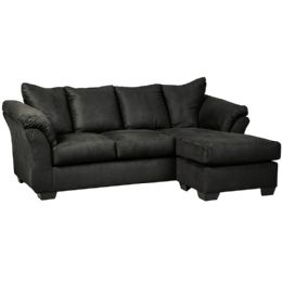 Signature Design by Ashley Darcy Sofa Chaise in Black Microfiber - Sofas